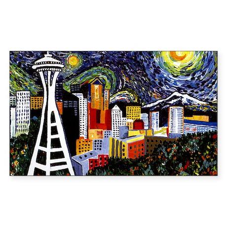 Seattle Starry Night Sticker (Rectangle)