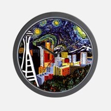 Seattle Starry Night Wall Clock