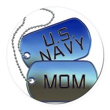 Navy Mom - Mother Dog Tag Round Car Magnet