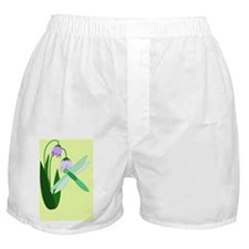 Dragonfly Purple Flower Boxer Shorts