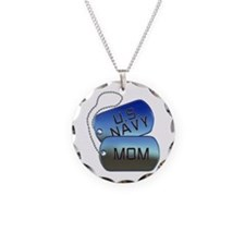Navy Mom - Mother Dog Tag Necklace Circle Charm