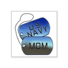 """Navy Mom - Mother Dog Tag Square Sticker 3"""" x 3"""""""