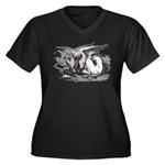 Sleeping Gryphon Women's Plus Size V-Neck Dark T-S