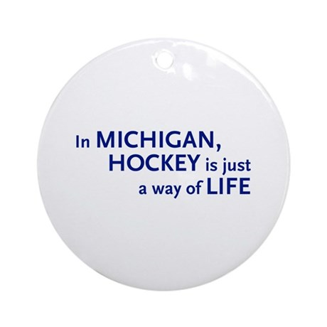 Hockey Michigan Ornament (Round)