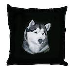 Gray Alaskan Malamute Throw Pillow