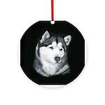 Gray Alaskan Malamute Ornament (Round)