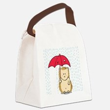 Cute hedgehog with torn umbrella Canvas Lunch Bag
