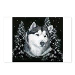 Alaskan Malamute with Snow Postcards (Package of 8
