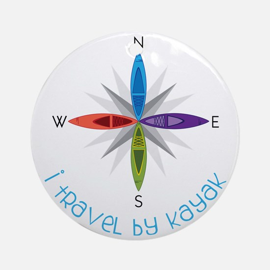 Travel By Kayak Round Ornament