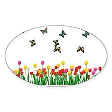 Tulip Garden and Butterflies Decal