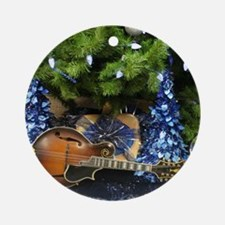 Gibson Mandolin Blue Christmas 2 Round Ornament