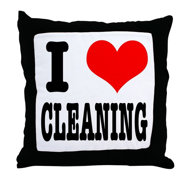 I Heart (Love) Cleaning Throw Pillow by dirtyjerzey