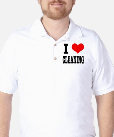 I Heart (Love) Cleaning Golf Shirt