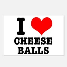 I Heart (Love) Cheese Balls Postcards (Package of