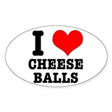 I Heart (Love) Cheese Balls Oval Decal