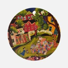 Crazy Quilters Round Ornament