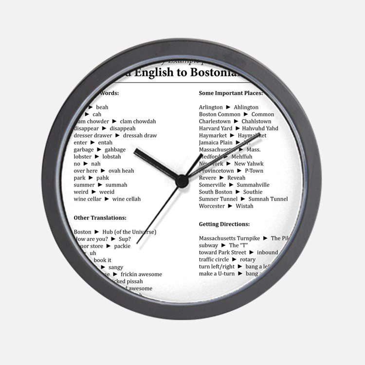 Boston-English Dictionary Wall Clock