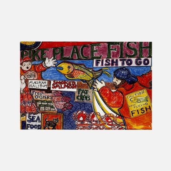 Seattle Fish Market Rectangle Magnet