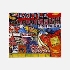 Seattle Fish Market Throw Blanket
