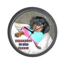 Breakfast In Bed Doxie Dog Wall Clock