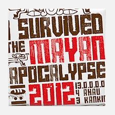 I Survived the Mayan Apocalypse 2012 Tile Coaster