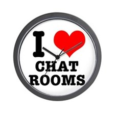 I Heart (Love) Chat Rooms Wall Clock