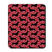 Red Polka Doxies Mousepad