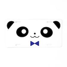 Peekaboo Panda - Blue Bow Aluminum License Plate