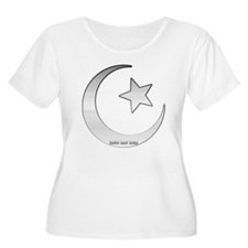 Silver Star and Crescent Women's Plus Size Scoop T