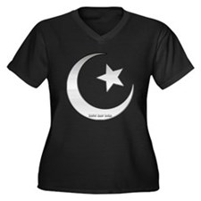 Silver Star and Crescent Women's Plus Size V-Neck