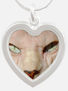 sphynx_eyes Silver Heart Necklace