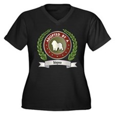 Bolognese Adopted Women's Plus Size V-Neck Dark T-