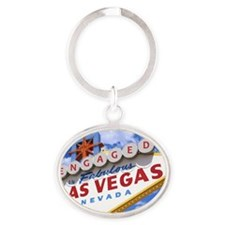 ENGAGED IN LAS VEGAS Oval Keychain