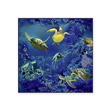 """aquarium of sea turtles Square Sticker 3"""" x 3"""""""
