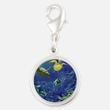 aquarium of sea turtles Silver Round Charm
