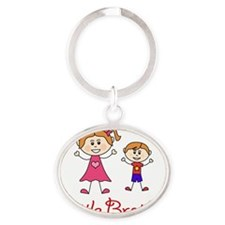 Little Brother with Big Sister Oval Keychain