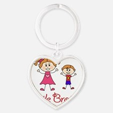 Little Brother with Big Sister Heart Keychain