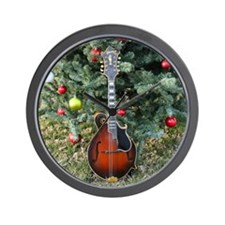 Gibson Mandolin Under the Christmas Tre Wall Clock