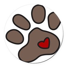 Puppy Paw Round Car Magnet