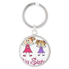 Big Sister with Little Sister Round Keychain