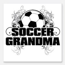 "Soccer Grandma (cross) Square Car Magnet 3"" x 3"""