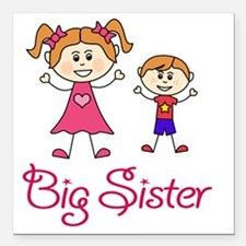 """Big Sister with Little B Square Car Magnet 3"""" x 3"""""""