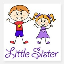 "Little Sister Personaliz Square Car Magnet 3"" x 3"""