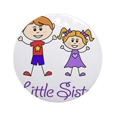 Little Sister Personalized! Round Ornament