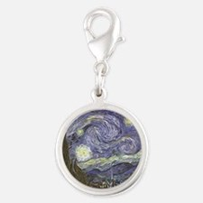 Van Gogh Starry Night Silver Round Charm