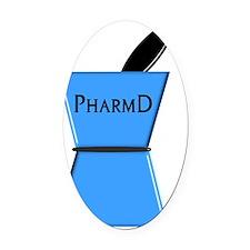 pharmD plain blue Oval Car Magnet