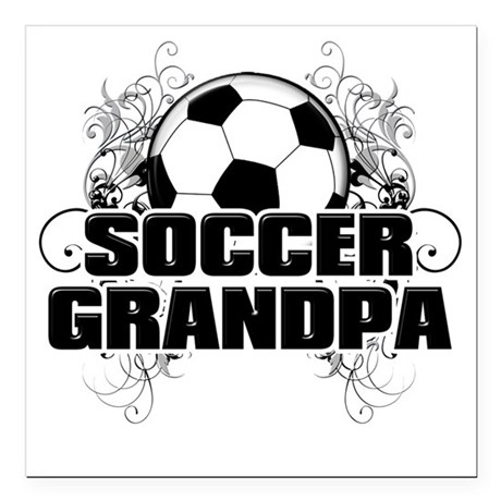 "Soccer Grandpa (cross) Square Car Magnet 3"" x 3"""
