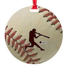 iHit Baseball Round Ornament