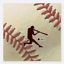 "iHit Baseball Square Car Magnet 3"" x 3"""