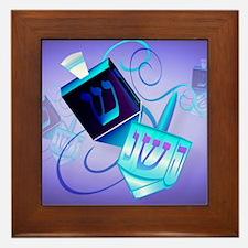 CalenderTwo Dreidels-Happy Spinning Framed Tile
